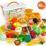 JoyGrow 40 Piezas Alimentos de Juguete Cortar Frutas Verduras, Accesorios de Cocina Juego de Comida,Educación Juegos para Nino,Juego de rol Infantil de Imitación con Caja de Almacenamiento