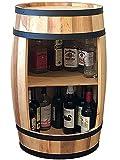 Barril de madera, armario para vino, 81 cm, botellero en forma de barril, armario para bebidas