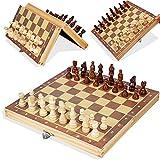 qianbanger Ajedrez de Madera magnético Tablero de ajedrez Plegable Madera Maciza Ajedrez Plegable de Madera Mediana 29 * 29 CM