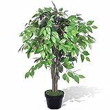 UnfadeMemory Ficus,Planta Artificial Decorativa,Decoración de Hogar Oficina,con Macetero,Tronco de Madera,Alambres de Plástico y Hierro (Altura 90cm)