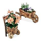 Relaxdays Juego de 2 carretillas de Madera flambeada, decoración de jardín, diseño Vintage, para Plantas, Color Natural