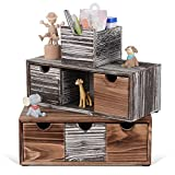 Organizador de escritorio rústico con 6 cajones Caja de almacenamiento de escritorio de madera para oficina, dormitorio, cocina con etiquetas