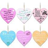 6 Piezas Letreros de Madera de Corazón Hechos a Mano Decoraciones Colgantes de Placa de Madera con Citas de Inspiración para Suministros Románticos de Novio o Novia, 6 Estilos