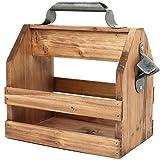 COM-FOUR Portabidón de madera con abrebotellas de metal y asa de metal - Cajas de madera para 6 botellas à 0,33 l - Portavasos para cerveza (Sin inscripción)