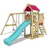 WICKEY Parque infantil de madera MultiFlyer con columpio y tobogán turquesa, Torre de escalada da exterior con arenero y escalera para niños