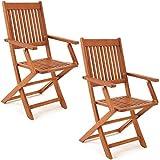 Deuba Set de 2 sillas 'Sydney' Plegables de Madera de Acacia Certificado FSC pre aceitada para jardín con reposabrazos