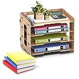 YADIMI Archivo de Documentos de Madera de Oficina, Organizador de escritorio de madera de Gran Capacidad Multifuncional con Soporte de Bolígrafo cajón, para papelería, hogar, con soporte del móvil