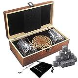 AYAOQIANG Juego de Vasos de Whisky - 16 Caja de Regalo de Piedra de Whisky - Clips de Rocas escocesas, Posavasos, Piedras de refrigeración y Gafas de Bar - Caja de Regalo de Madera