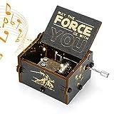 Yideng Madera de la manivela Caja de música, Tema de Star Wars clásica Caja de música Tallada antigüedad Musical Box decoración del hogar Manualidades para Adultos niños cumpleaños de la Navidad