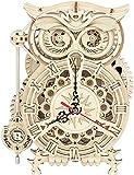 ROKR Rompecabezas Puzzles Madera 3D Búho Reloj para Adultos Niños Mayores de 14 Años Maquetas para Montar Bricolaje 161 Piezas, Owl Clock