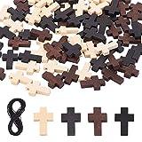 PandaHall 90 colgantes de madera con cruz de 3 colores, cuentas espaciadoras para fiestas, escuelas dominicales, manualidades