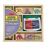 Melissa & Doug- Wooden Stamp Set Dinosaurs, Juego de Sellos de Madera Dinosaurios (1633)