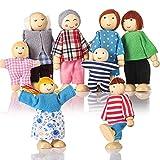 Familia de 8 personas para casa de muñecas, Pequeñas muñecas de madera Juguetes para niños Niñas