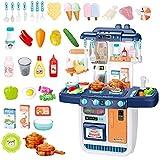 deAO Cocinita Mi Pequeño Chef con Características de Sonidos, Luces y Agua Cocina de Juguete Incluye 34 Accesorios