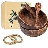 Kaiyingxin Set 2 Boles de Coco con Cubiertos, Ensaladera de Madera, Buda Bowl, 100% Natural, Ecológico y Sostenible, Bol de Madera Hecho con Coco, Coconut Bowl para Buddha Bowl