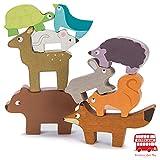 Le Toy Van - Petilou Apilable de animales del bosque | Juguete educativo de equilibrio | Apilable de madera con bolsita de tela | A partir de +18 meses
