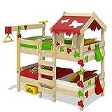 WICKEY Litera CrAzY Ivy Cama para jugar para 2 niños Cama alta con techo, escalara para trepar y somier de madera, rojo-verde manzana