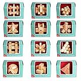 HYMAN Rompecabezas de Madera, 12 Piezas Juegos de Ingenio Rompecabezas Calendarios de adviento Juguetes para Adultos y Niños