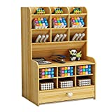 Organizador de escritorio de madera caja multifuncional de soporte para bolígrafos para escritorio organizador de bolígrafos para suministros de oficina, hogar y escuela con cajón (madera de cereza B)