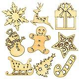Figuritas de madera navideñas para manualidades y decoraciones (pack de 45).