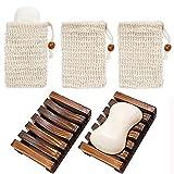 Chefic 2 Paquetes Jabonera Jabonera de Madera Natural bambú Bandeja de jabón para Ducha