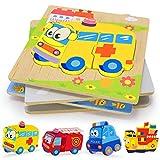 XDDIAS Puzzles de Madera Educativos, Juguetes Montessori para Bebé niños 1 2 3 4 5 6 años, Preescolar Juguetes Regalos, Regalo de cumpleaños, Navidad (4 Piezas) (Auto)