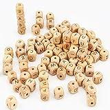 ARTESTAR 100 Piezas 12x12mm Cuenta de Madera con Letras Cadena de Chupete DIY Collar de Lactancia Cuentas de Madera del Alfabeto de Dentición para Bebé Niños y Niñas