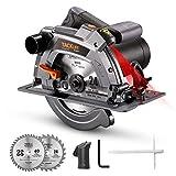 TACKLIFE Sierra Circular 1500W 4700RPM, Avanzado Motor de Cobre Puro, Sierra Compacta con Base de Hierro, Guía Laser, Corte 63mm (90º), 45mm (45º), 24T 40T Hoja, Cortar Madera y Metal -PES03A