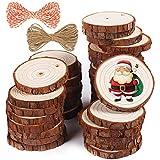 5ARTH Rebanadas de madera natural - 37 piezas 5-6cm Kit de madera sin terminar para manualidades perforado con agujeros Círculos de madera para artes Rebanadas de madera Adornos navideños
