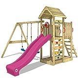 WICKEY Parque infantil de madera MultiFlyer con columpio y tobogán Violeta, Torre de escalada de exterior con techo, arenero y escalera para niños