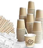 FMC SOLUTION Eco Kit - Accesorios para café y té - 150 azúcar en bolsitas, 150 paletas de madera, 150 vasos de café de papel