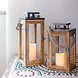 Lights4fun Farolillo Grande de Madera de 34 cm con Vela LED a Pilas y Asa de Cuerda