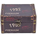HERCHR Caja de Madera, Cofre del Tesoro Vintage, Caja de Almacenamiento Decorativa de Madera con Tapa, joyero con candado para tocador, estantería de Dormitorio(1)