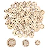 Disino 120 Piezas Botones De Madera Handmade with Love Botones Redondos con 2 Agujeros para DIY Arte Coser Ropa Zapatos Sombreros Niños y Adultos 15mm + 20mm + 25mm