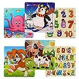 swonuk Juego de 6 Puzzles de Madera Educación Juguetes Bebes Rompecabezas de Madera 20 Piezas Puzzles Animales Letra para Niños de 2 a 4 años