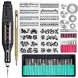 108 herramientas de grabado, bolígrafo grabador con cable, multifuncional, herramienta rotativa para bricolaje, joyas, vidrio, madera, metal con scriber, 24 plantillas y 82 accesorios