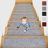 MBIGM 20cm X 76cm (Paquete de 15) Alfombras Antideslizantes Peldaños de Escalera Alfombrilla Antideslizante Interior para niños Mayores y Mascotas con Adhesivo Reutilizable, Gris Claro