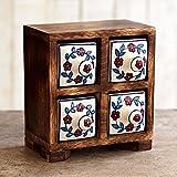 Paper High Juego de 4 cajones de cerámica tradicional india pintada a mano, 15 cm x 14,5 cm x 8 cm, caja de joyería alternativa de madera de mango