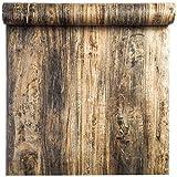 Película de vinilo autoadhesiva Etiqueta de muebles de aspecto retro de madera Papel pintado de papel para gabinetes de cocina Estantes Armario Mesa Escritorio Encimera Paredes 40CMX2,5M