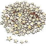 TsunNee Decoración de mesa de madera con estrellas para manualidades, confeti para decoración de bodas, fiestas, manualidades, botones de estrella de madera, 200 unidades