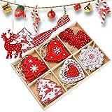 juehu 24 Pcs Decoracion Arbol Navidad Madera Navidad Adornos de Copos de Nieve Ahuecados Colgantes Decoración de Navidad de Manualidades Colgantes Renos de Navidad de Rojo Blanco Decoración de Fiesta