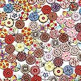 Lidiper 100 Piezas Botones De Madera, Retro Redonda Botones Botones Decorativos Costura Mixto Botón Impresión Flores de 2 Agujeros para Bricolaje Para La Costura Y Elaboración 20 mm