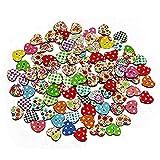 LIOOBO Botón de Madera en Forma de corazón Multicolor 100 Piezas - Botones de Costura de 2 Agujeros
