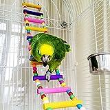 Escalera de madera, juguete para pájaros, loros, periquitos, cacatúas, guacamayos grises, cacatúas africanas, chinchillas, ratones, ratas, ardillas