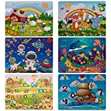 Swonuk Puzzle Madera niños, 60 Piezas Rompecabezas Madera Bebe, Include Animales, numeros, Letras, Regalo para niños(6 Paquetes, 60 Piezas)