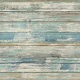 Hode Papel Adhesivo para Muebles Madera Azul Desprendible Papel Pintado Adhesivo Decorativo para Paredes Autoadhesivo 30X300cm