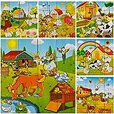 PROW Bloque de Cubo de Madera 16pcs Bloques de Rompecabezas de Madera Animales de Granja Rompecabezas Bloques de construcción no tóxicos para niños pequeños y niñas