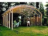 Jardín Verde - Cochera doble 'Conwy' con techo de policloruro de vinilo ondulado (pcv). Dimensiones: h3,2 x 6 x 6m