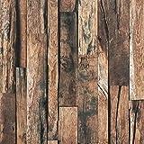 Lámina autoadhesiva para muebles de madera, 45 x 500 cm, papel pintado de madera, adhesivo en 3D, para armarios, muebles, aspecto de madera, color marrón oscuro