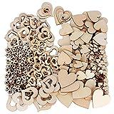 JNCH 400 Piezas Corazones de Madera Rebanadas de Madera Forma Corazón Entero + Hueco Adornos de Corazón para Decoración Boda DIY Manualidades Artesanías Tamaño 10mm, 20mm, 30mm, 40mm